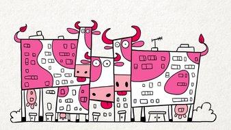 Vaches et immeubles