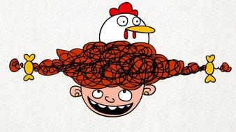 Poulet avec cheveux