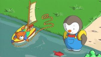 T'choupi a les pieds dans l'eau